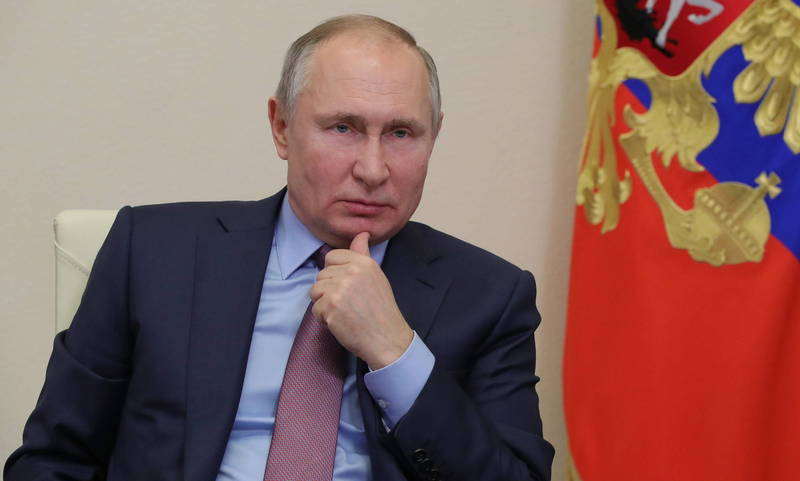 俄國總統普廷表示,近日呼籲釋放納瓦尼的示威浪潮是由外國策動。(資料照,歐新社)