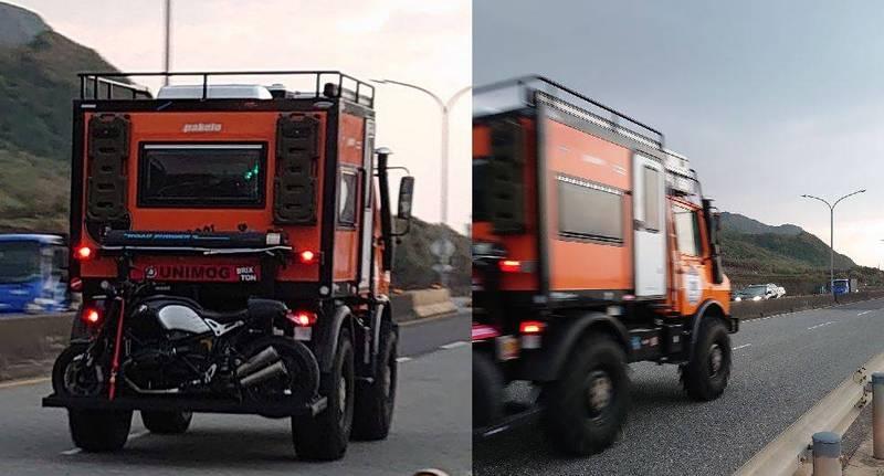 有網友PO出照片指出,他在西濱公路目擊一輛掛著試車牌的特殊賓士,好奇詢問是否有人知道這到底是哪一款車?(圖取自臉書「爆廢公社公開版」)
