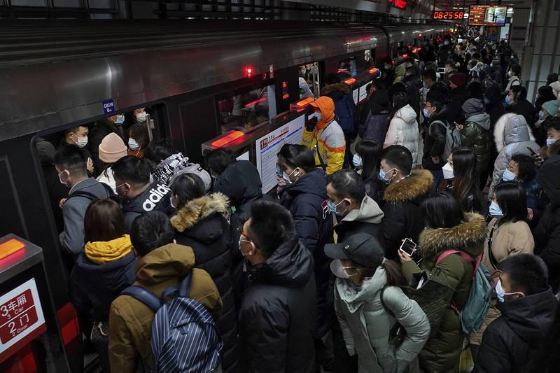 中国今年春运旅客运量大跌,其中7天年假的运量预估将跌破1亿人次大关,仅9766.3万人次。(美联社)(photo:LTN)