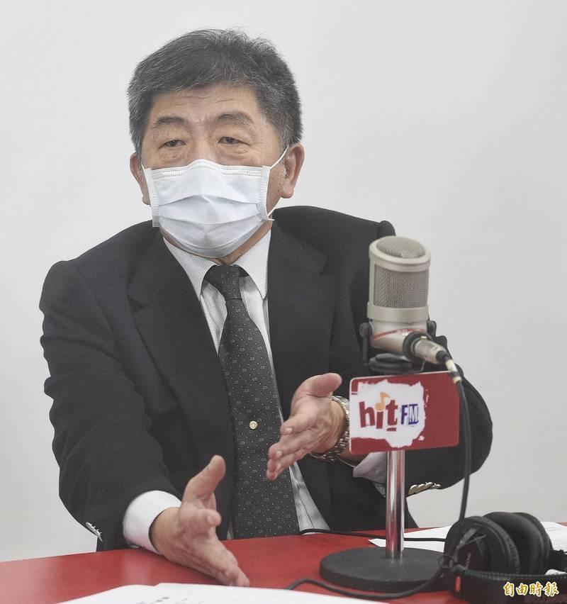 衛福部長陳時中今早接受電台訪問。(記者陳志曲攝)