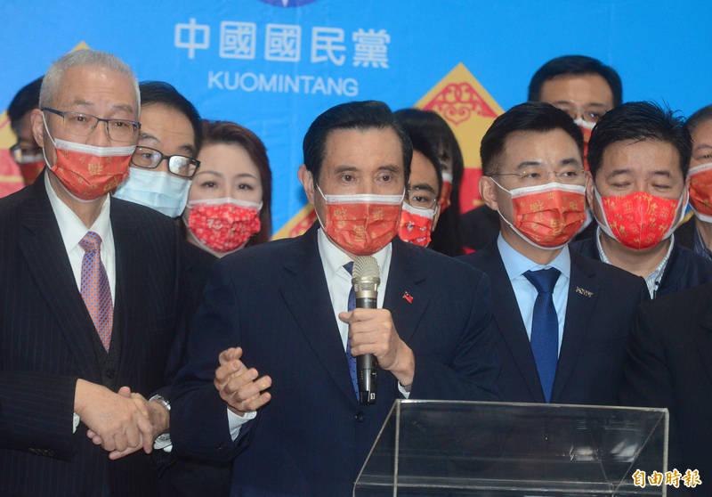 國民黨中央黨部新春團拜,前總統馬英九致詞,並與大家一同團拜。(記者王藝菘攝)