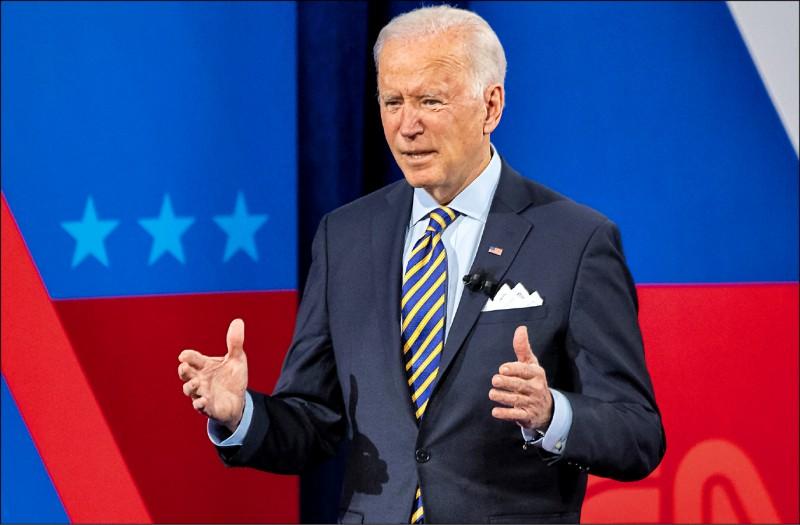 美國總統拜登十六日在威斯康辛州參加CNN的與民會談節目。 (法新社)