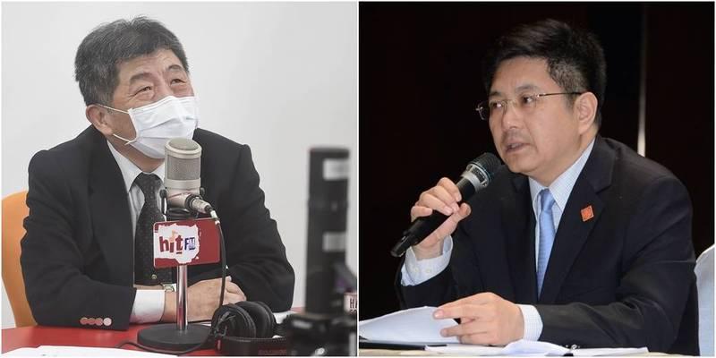 陳時中(左)說明我國購買BNT疫苗真相,國台辦發言人馬曉光(右),今開記者會跳腳反轟。(左圖資料照,右圖中央社檔案照)