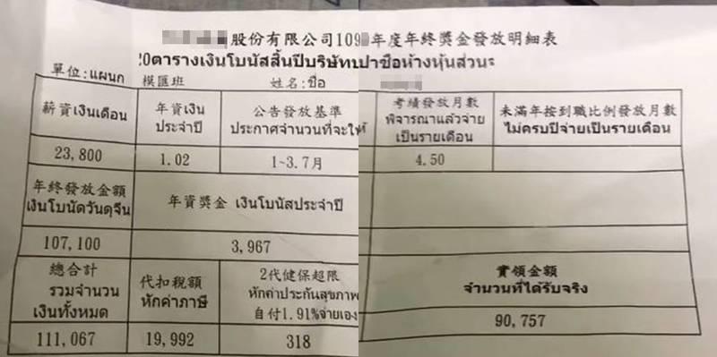 這名泰國移工年終獎金11萬1067,實領9萬757元,這數字應該能讓不少台灣勞工相當羨慕。(圖取自爆廢公社)