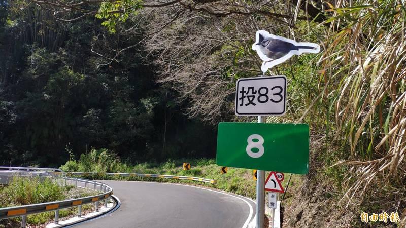 每公里新增的鳥類圖像立牌,也讓遊客好奇下一個會出現哪種鳥類負責「站崗」。(記者佟振國攝)