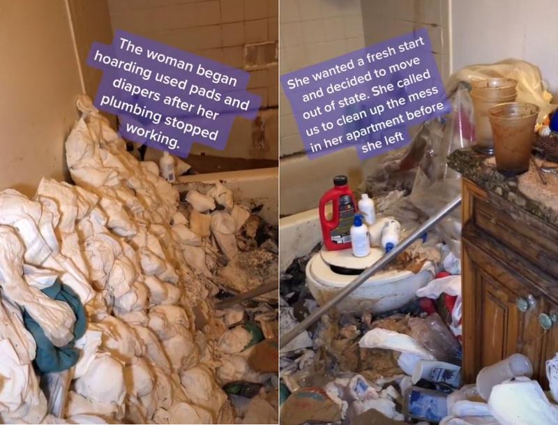 浴室堆滿尿布及衛生棉,女主人說是為了堵住破裂的水管。(圖取自tiktok)