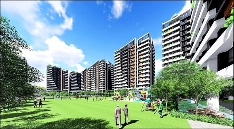 南市仁德區二空新村B區都更案開發模擬圖。(台南市都發局提供)