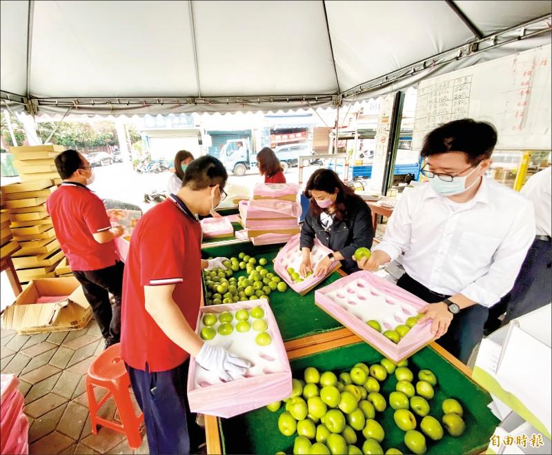 「珍蜜」蜜棗上市,大社農會員工忙著分裝進軍日本市場。(記者洪臣宏攝)