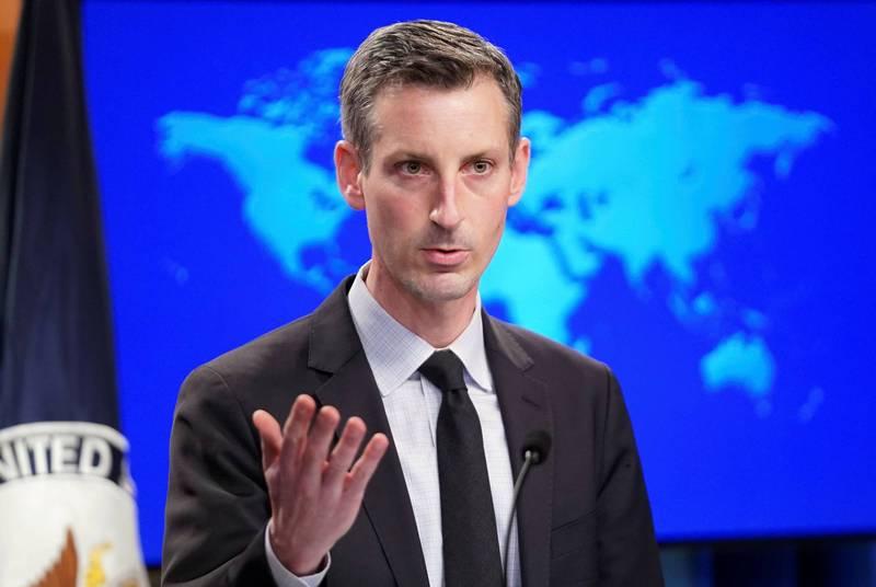 美國國務院發言人普萊斯(Ned Price)19日在例行記者會上指出,華府對「中國海警法」草案中的內容表示關切。(路透)