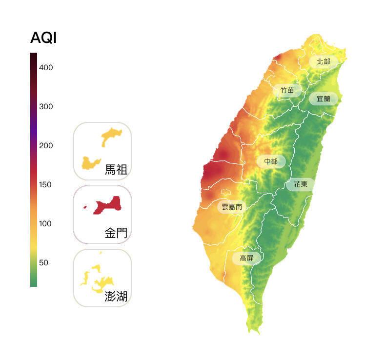 台灣進入空品不良期,今日上午西半部有21測站亮橘燈、7測站亮紅燈。(取自環保署空氣品質監測網)