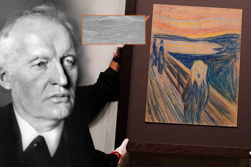 挪威國家博物館進行的最新測試證實了,《吶喊》左上角用鉛筆寫下的微小到近乎看不見的一行字句-「只有瘋子才畫得出來」的筆跡是由孟克本人親自所寫。(本報合成)