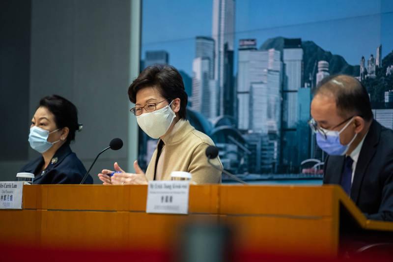 香港昨增20例確診,林鄭月娥今將接種疫苗。(彭博社檔案照)