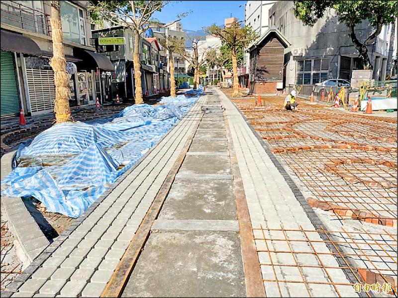花蓮市舊鐵道商圈徒步區獲客委會補助整建改善。(記者王峻祺攝)