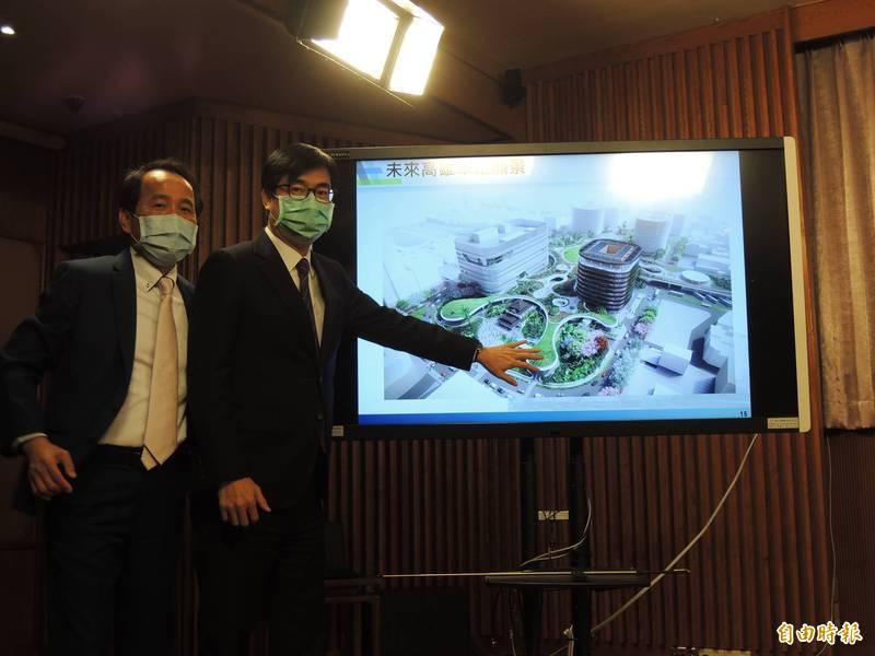 高雄市長陳其邁、副市長林欽榮對台鐵新高雄車站與周遭改造充滿期待。(記者王榮祥攝)