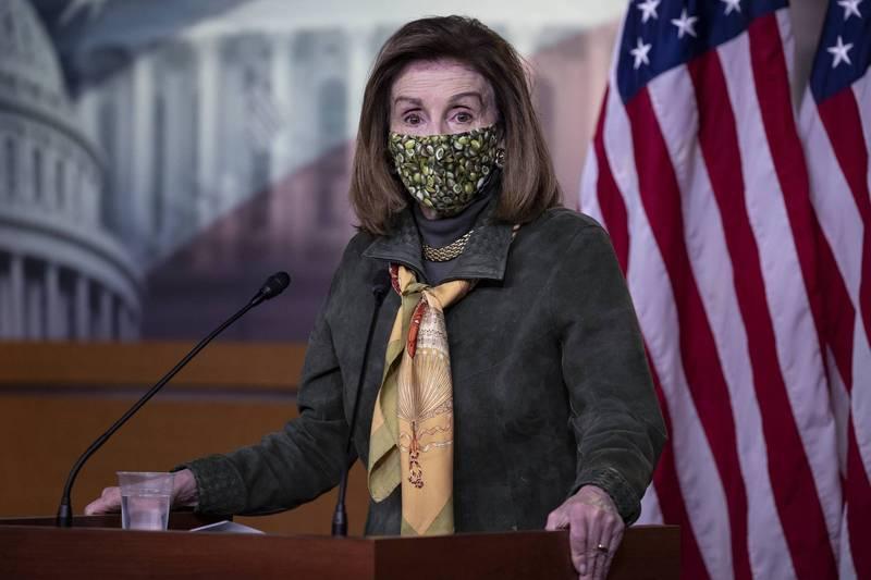 美國眾議院議長裴洛西(Nancy Pelosi)表示,9名泛民主派人士遭庭審是對香港法治的侮辱。(法新社資料照)