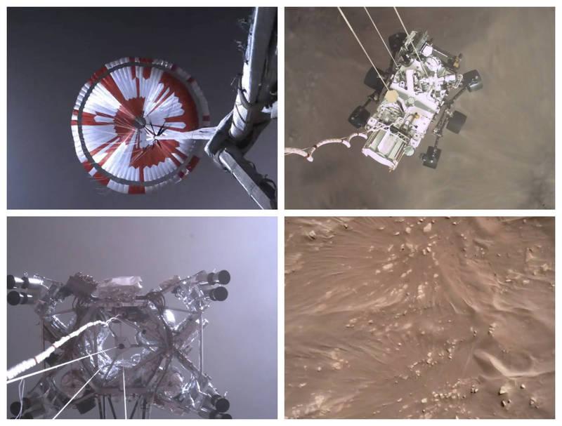 NASA公布毅力號著陸影片。(美聯社)