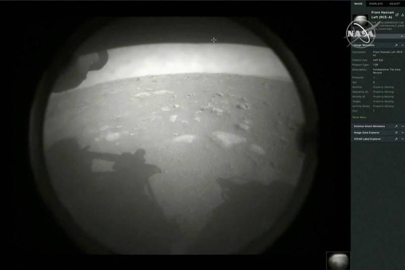 美國「毅力號」探測車登陸火星。(路透檔案照)