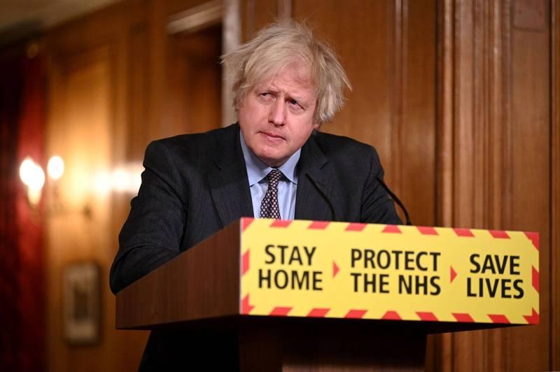 英國首相強森公布解禁4階段計劃。(路透)