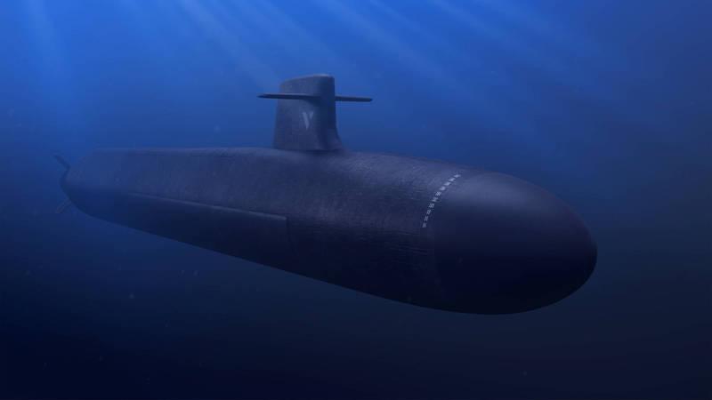 法國展開新型核子動力彈道飛彈潛艦建造計劃。為法國「海軍集團」釋出的新型潛艦示意圖。(法新社)