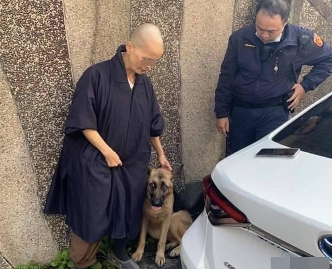 流浪3天的狼犬如意,今天在三坑火車站附近被警方尋獲(翻攝自臉書社團基隆人)