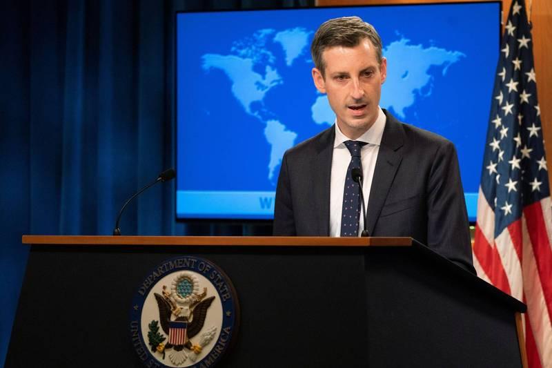 美國國務院發言人普萊斯(Ned Price)23日舉行例行記者會,回答有關駐中國大使人選問題。(路透)