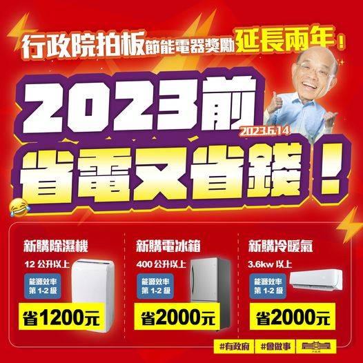 [新聞] 蘇貞昌宣布「節能家電補助」延長2年 新