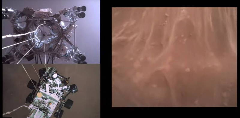 火星探測器「毅力號」18日成功登陸火星,NASA隨後曝光畫面,成為國際焦點。(歐新社)