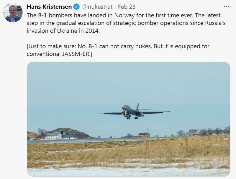 美國空軍近日聲明宣佈,美國B-1B轟炸機已於22日抵達挪威,將參加訓練任務,圖為B-1B轟炸機降落挪威。(擷取自核武專家Hans Kristensen推特)