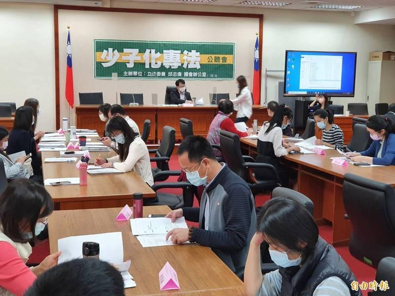 民進黨立委邱志偉今召開「少子化專法」公聽會。(記者謝君臨攝)
