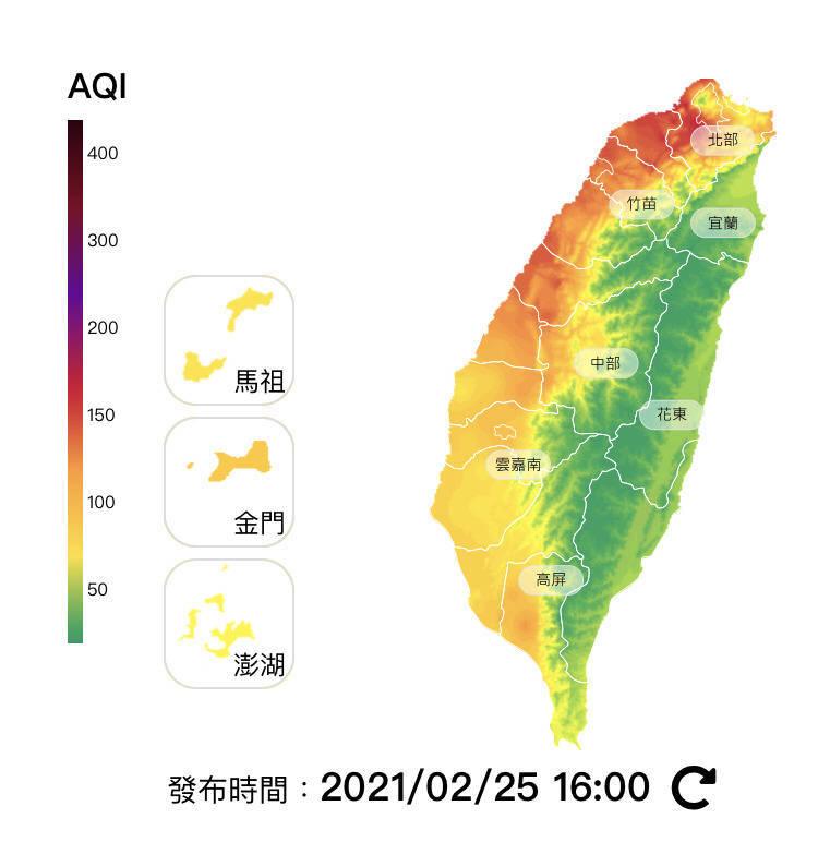 受背風渦旋影響,中南部污染物往北吹送,桃園、台北、新北共9測站亮紅燈。(取自環保署空氣品質監測網)