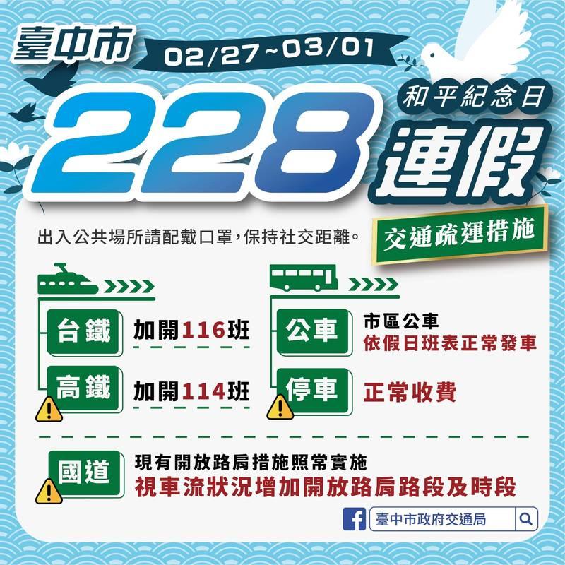 228連假將來臨,台中市交通局說,會同交通部適時放寬匝道儀控管制,也會監控市區交通。(記者蘇金鳳翻攝)