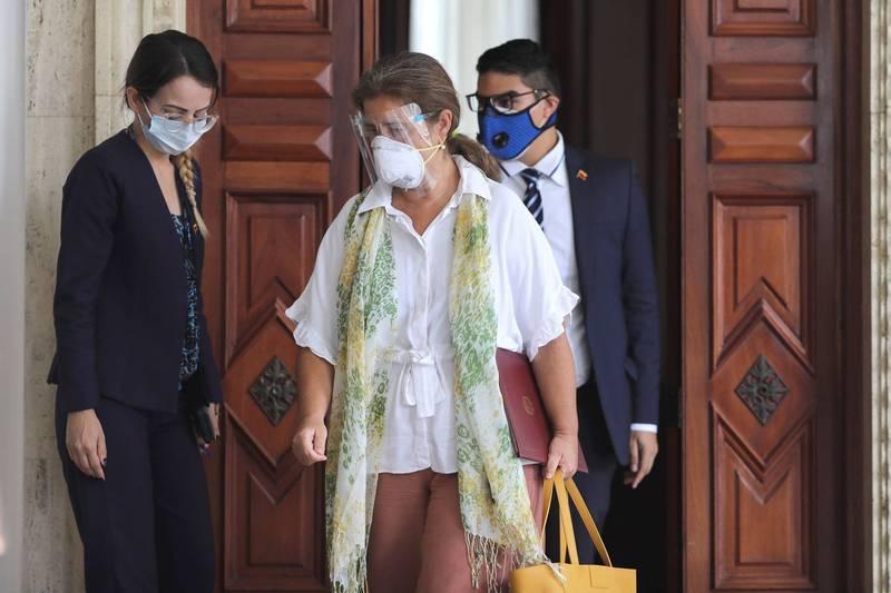 歐盟駐委內瑞拉大使佩德羅沙(Isabel Brilhante Pedrosa,圖中)被委國視為不受歡迎人物,限制在72小時內離境。(路透)