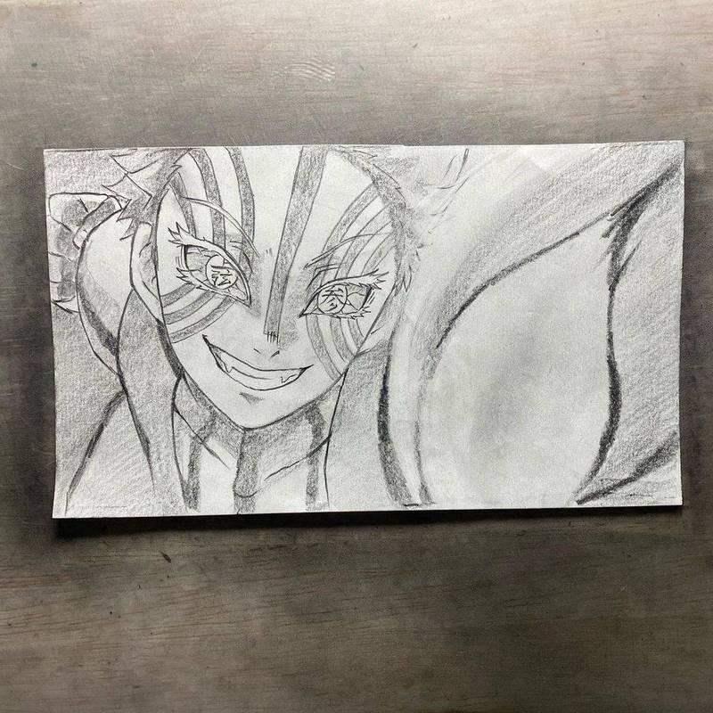 日本一名畫師用紙筆重現《鬼滅之刃》電影版的經典畫面。(Instagram帳號mill.kun 授權)
