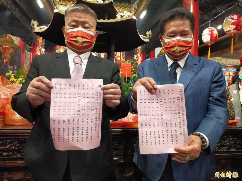 鎮瀾宮董事長顏清標(左)與副董事長鄭銘坤宣布媽祖起駕日期。(記者張軒哲攝)