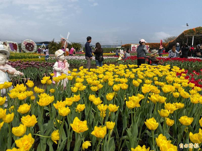 中社花市228連假首日,遊客不如春節多。(記者張軒哲攝)