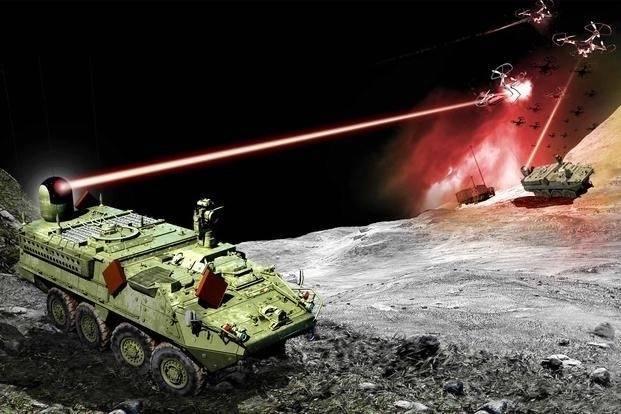 美军装甲车用雷射武器进行实战攻击的假想图。(翻摄自诺斯洛普格鲁曼公司官网)(photo:LTN)