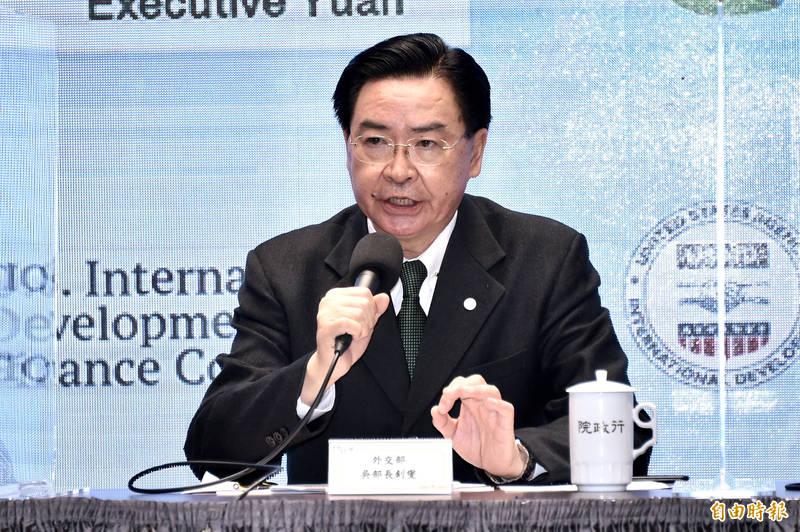 外交部長吳釗燮在推特上呼籲全球理念相近的友人支持台灣,一同捍衛「自由鳳梨」。(資料照)