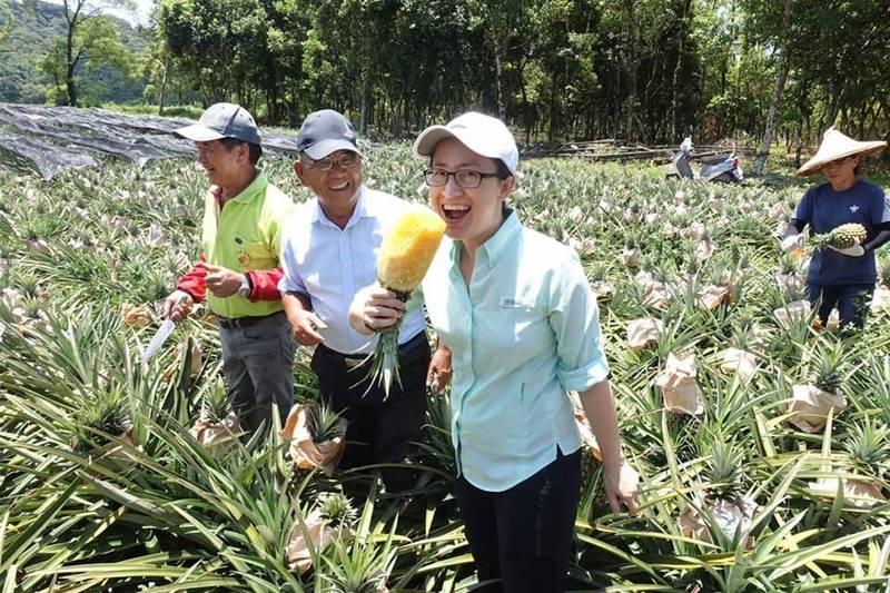 駐美代表蕭美琴以「豪邁」吃法力挺台灣鳳梨,引發許多網友熱烈迴響。(圖擷取自蕭美琴 Bi-khim Hsiao臉書)