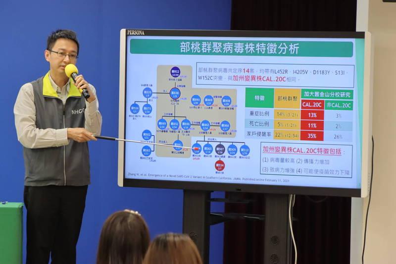 中央流行疫情指揮中心今(27)發表部桃檢討報告。(指揮中心提供)