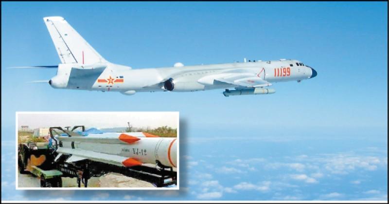 一月二十三日,中國人民解放軍出動八架轟-6K轟炸機,模擬發射多達四十八枚「鷹擊-12」(YJ-12,左下圖)超音速反艦飛彈,攻擊剛剛進入台灣西南防空識別區鄰近南海海域的美國海軍航空母艦「羅斯福號」。(取自網路)
