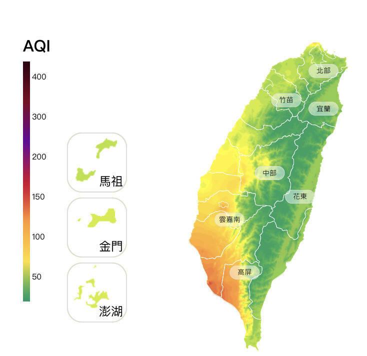 最新空品監測顯示,台南及高屏地區共有15測站達對敏感族群不健康的「橘色提醒」等級。(取自環保署空氣品質監測網)