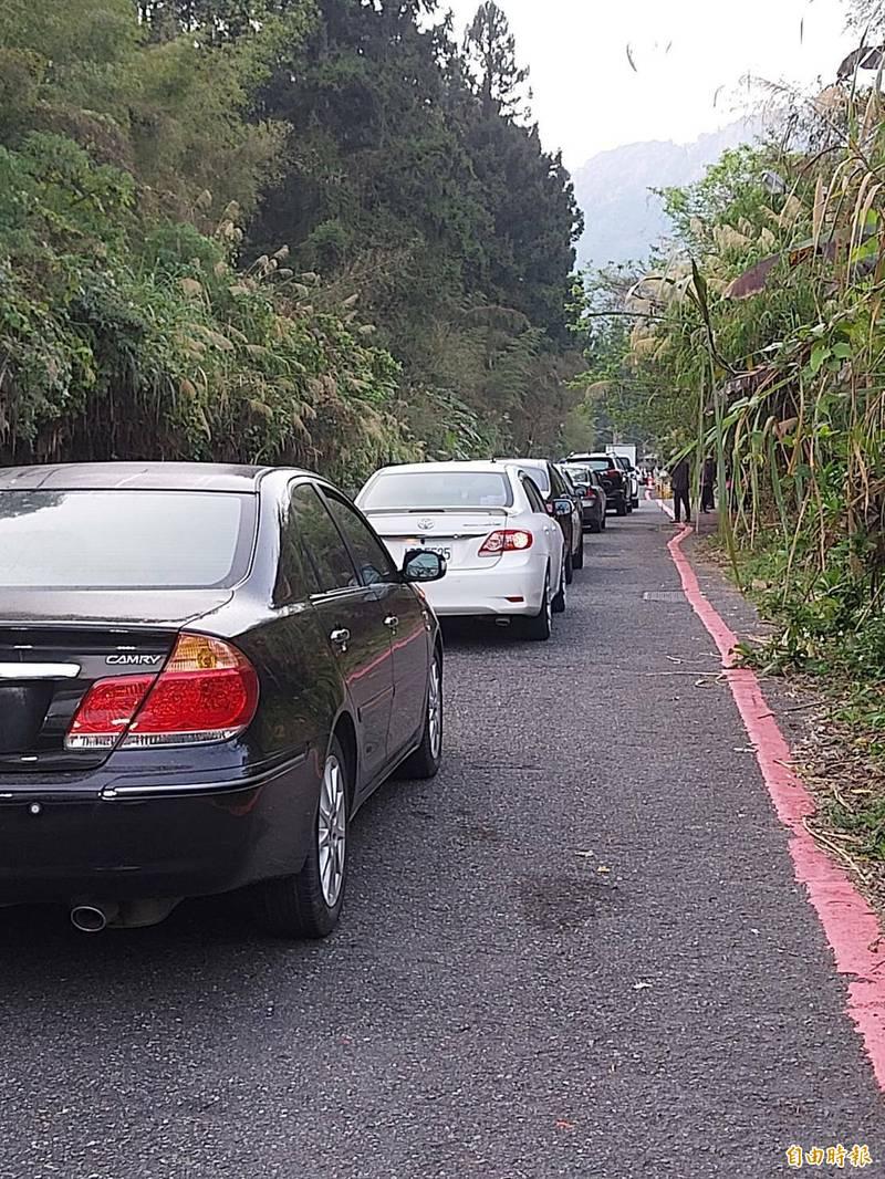 228連假第2天,溪頭米堤路入口7點不到,等候入場車輛即大排長龍。(記者張協昇攝)