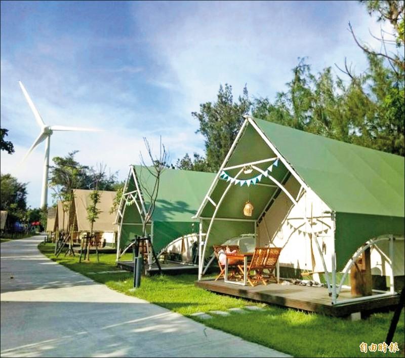 大安濱海樂園豪華露營區環境優美。(記者張軒哲攝)