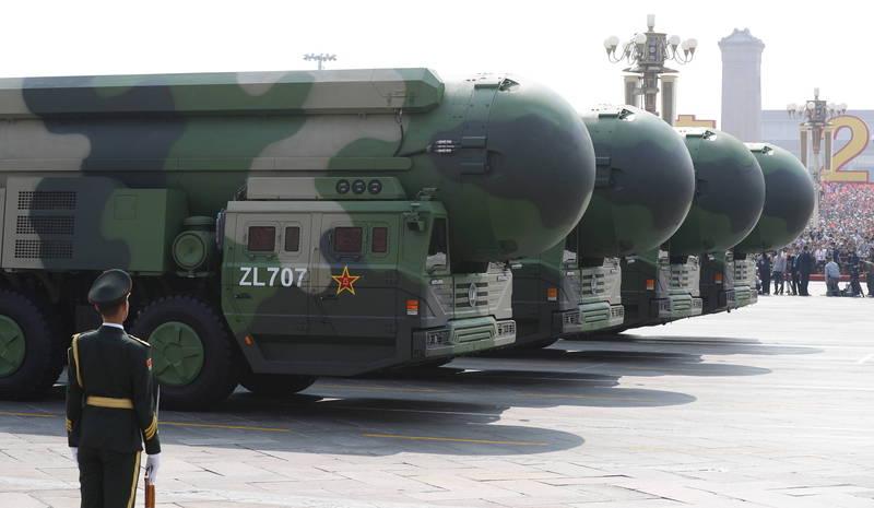 近日美國專家調查發現,2016年以來,中共解放軍「很可能」在內蒙古自治區分3期新建至少16處洲際彈道飛彈發射設施,圖為中共東風-41型洲際彈道飛彈。(歐新社資料照)
