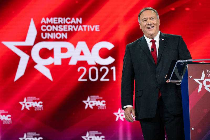 Pompeo will attend the 2021 Conservative Political Action Conference on Saturday.  (Bloomberg)