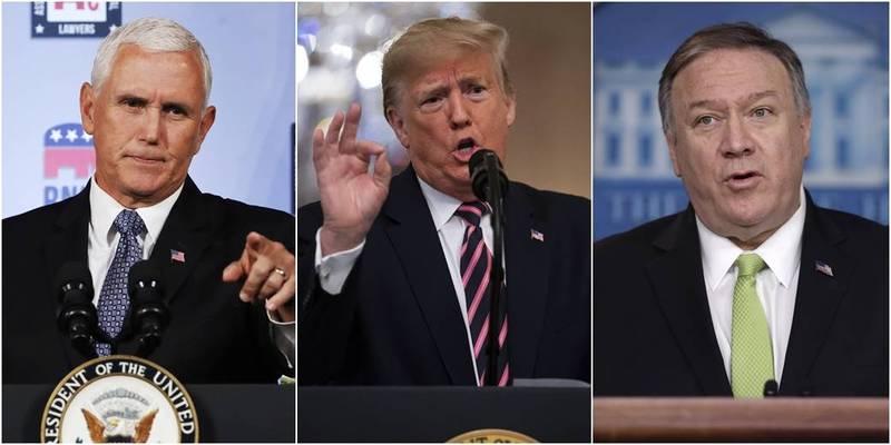 川普(中)民調勝過彭斯(左)、龐皮歐(右)。(美聯社,本報合成)
