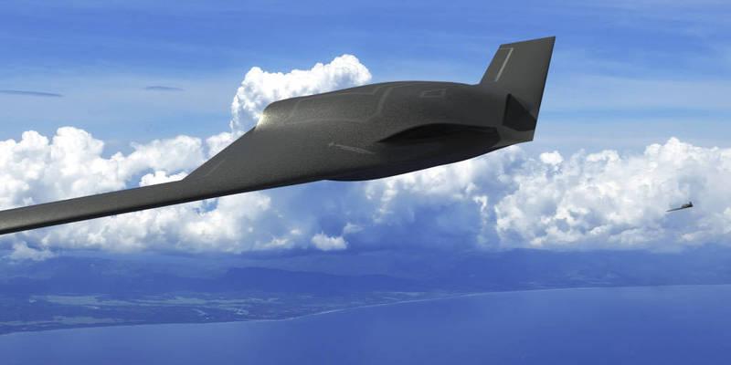通用原子26日在推特上公佈新型情侦监攻击无人机概念图,採用飞翼(全翼机)设计,强调在各领域上的特征都比以往更少,图为新无人机概念图。(撷取自通用原子推特)(photo:LTN)