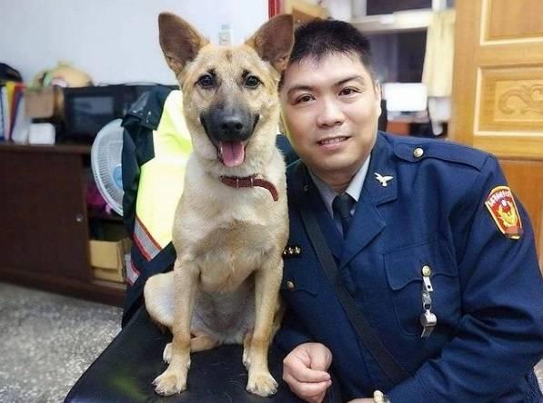 分駐所的警員們相當照顧平安。(新北市動物保護防疫處提供)