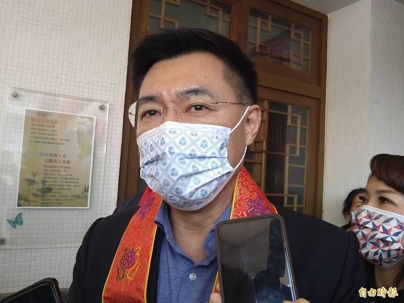 國民黨主席江啟臣表示,香港國安法變成打擊異己的工具,令人遺憾也相當失望。(記者蔡文居攝)