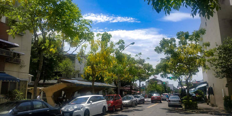 宜蘭市第一個改建成國宅的眷村「篤行國宅」,隱身在宜蘭市復興里熱鬧地段,主要道路種有阿勃勒,夏季開花相當漂亮,吸引不少民眾駐足觀賞。(圖由宜蘭市復興文化促進會提供)